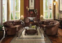 Traditional Chocolate Finish 4 Pc, Sofa with Accent Chairs - Morgan Dark GL6115