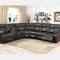 Chocolate Finish Sectional with 3 Recliners Sale Mississauga - GL6240