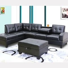 Alluring Sectional Set with Drop Down Tray and Ottoman - GL6196