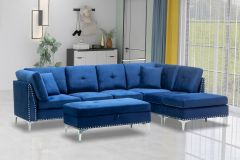 Fabric Sectional Couch with Metal Legs (Cynthia)