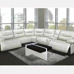 Sectional genuine leather White recliner BRODY