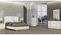 Tanner White Bedroom Set with Titanium Gold Metal Details