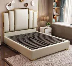 Queen Size Contemporary Platform Bed with Gold Details on Headboard