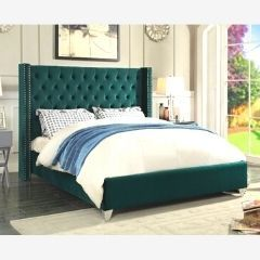 green-tufted-bed