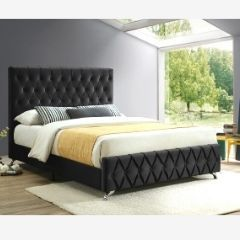 Black-Tufted-Queen-Bed IF-5671