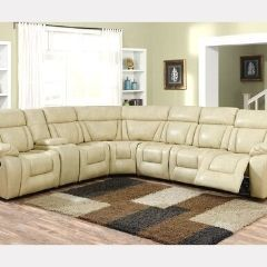 Sleek Modern Sectional with 3 Recliners - Evergreen Sectional Beige - GL6240