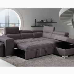 Sectional with Pull Out Bed, Adjustable Headrest, Storage Ottaman, 2 Small Stools GL6239